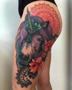 фото тату единорог от 14.11.2017 №057 - unicorn tattoo - tattoo-photo.ru