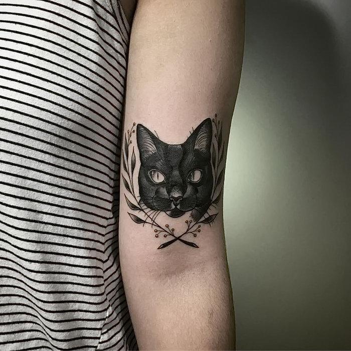 кошка тату эскиз фото
