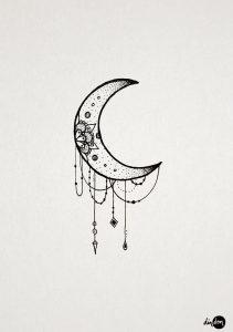 фото тату луна от 19.11.2017 №051 - tattoo moon - tattoo-photo.ru