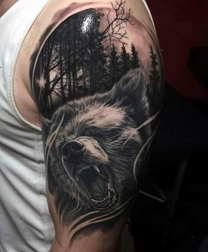 Тату медведей 110 лучших фото татуировок 2018 года 16