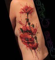 фото тату цветок Мак от 17.11.2017 №007 — tattoo flower mack — tattoo-photo.ru