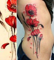 фото тату цветок Мак от 17.11.2017 №013 — tattoo flower mack — tattoo-photo.ru