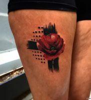 фото тату цветок Мак от 17.11.2017 №015 — tattoo flower mack — tattoo-photo.ru