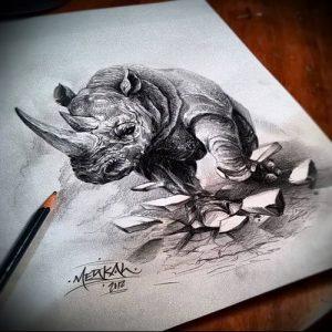 фото тату носорог (rhino tattoo) (значение) - пример рисунка - 005 tatufoto.com