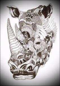 фото тату носорог (rhino tattoo) (значение) - пример рисунка - 008 tatufoto.com