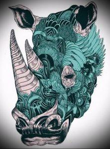 фото тату носорог (rhino tattoo) (значение) - пример рисунка - 035 tatufoto.com