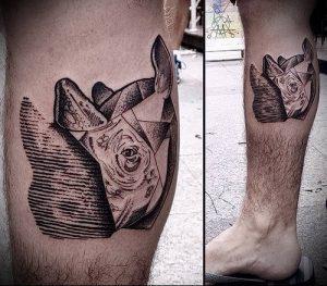фото тату носорог (rhino tattoo) (значение) - пример рисунка - 044 tatufoto.com