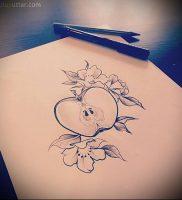 фото тату С ЯБЛОКОМ (Tattoo apple photo) (значение) — пример рисунка — 027 tatufoto.com