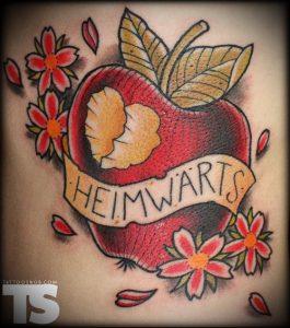 фото тату С ЯБЛОКОМ (Tattoo apple photo) (значение) - пример рисунка - 034 tatufoto.com