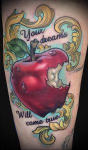 фото тату С ЯБЛОКОМ (Tattoo apple photo) (значение) - пример рисунка - 044 tatufoto.com