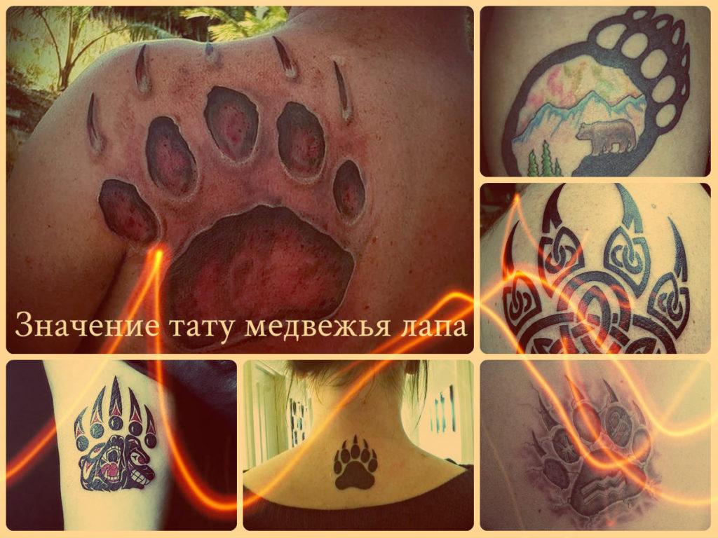 Значение тату медвежья лапа - фото примеры оригинальных рисунков татуировки на фото