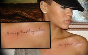фото Тату Рианны от 30.09.2017 №053 - Rihanna Tattoo - tattoo-photo.ru