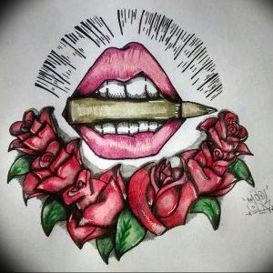 фото тату губы рисунок от 30.09.2017 №016 - tattoo lips drawing - tattoo-photo.ru