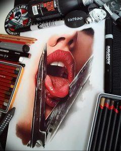 фото тату губы рисунок от 30.09.2017 №039 - tattoo lips drawing - tattoo-photo.ru