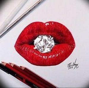 фото тату губы рисунок от 30.09.2017 №059 - tattoo lips drawing - tattoo-photo.ru