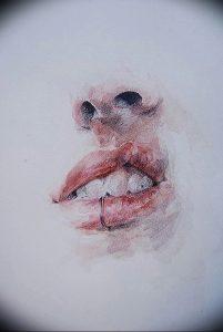 фото тату губы рисунок от 30.09.2017 №064 - tattoo lips drawing - tattoo-photo.ru