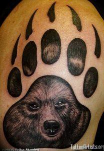 фото тату медвежья лапа от 30.09.2017 №033 - bear paw tattoo - tattoo-photo.ru