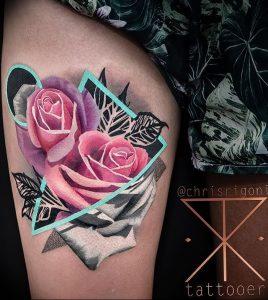 фото тату роза от 30.09.2017 №095 - rose tattoo - tattoo-photo.ru