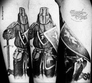 фото тату рыцарь от 27.09.2017 №080 - tattoo knight - tatufoto.com