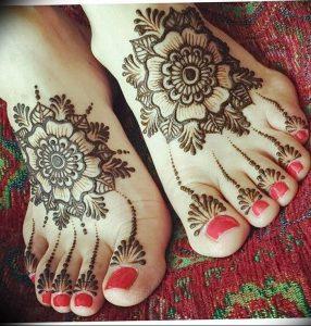 фото Мехенди на ноге от 24.10.2017 №002 - Mehendi on foot - tattoo-photo.ru