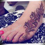 фото Мехенди на ноге от 24.10.2017 №009 - Mehendi on foot - tattoo-photo.ru