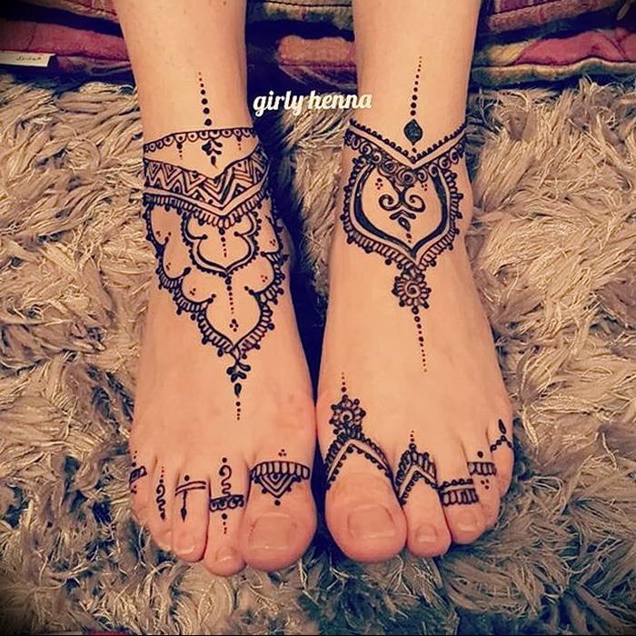 фото Мехенди на ноге от 24.10.2017 №103 - Mehendi on foot - tattoo-photo.ru