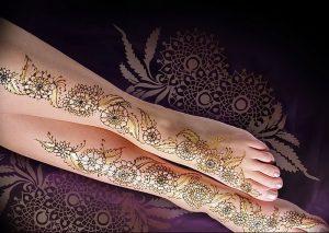 фото Мехенди на ноге от 24.10.2017 №119 - Mehendi on foot - tattoo-photo.ru