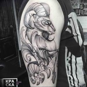 фото тату баран от 21.10.2017 №057 - tattoo ram - tattoo-photo.ru