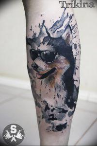 фото тату хаски от 07.10.2017 №044 - tatu husky - tattoo-photo.ru