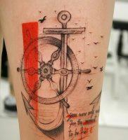 фото тату штурвал от 09.12.2017 №077 — tattoo steering wheel — tattoo-photo.ru
