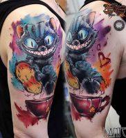 фото тату Чеширский кот от 23.01.2018 №069 — tattoo Cheshire Cat — tattoo-photo.ru