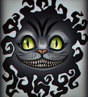 фото тату Чеширский кот от 23.01.2018 №077 — tattoo Cheshire Cat — tattoo-photo.ru