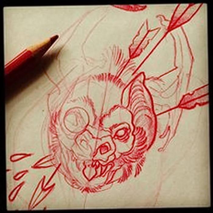фото Эскизы тату летучая мышь от 11.04.2018 №004 - Sketches bat tattoo - tattoo-photo.ru