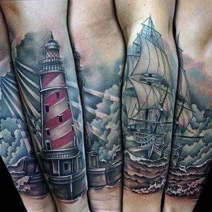 фото тату маяк от 16.04.2018 №011 - tattoo beacon - tattoo-photo.ru