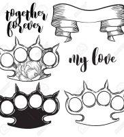 фото тату кастет от 11.04.2018 №012 — tattoo brass knuckles — tattoo-photo.ru 234234222