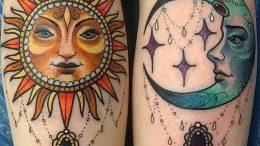 Фото рисунка тату Луна и Солнце 05.11.2018 №208 - tattoo Moon and Sun - tattoo-photo.ru