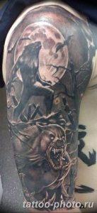 Фото рисунка тату оборотень 24.11.2018 №051 - photo tattoo werewolf - tattoo-photo.ru