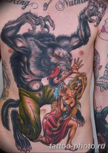 Фото рисунка тату оборотень 24.11.2018 №073 - photo tattoo werewolf - tattoo-photo.ru