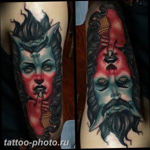 фото идея тату дьявол 18.12.2018 №433 - photo idea tattoo devil - tattoo-photo.ru