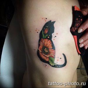 фото рисунка тату черная кошка 13.11.2018 №138 - black cat tattoo picture - tattoo-photo.ru