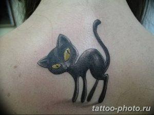 фото рисунка тату черная кошка 13.11.2018 №162 - black cat tattoo picture - tattoo-photo.ru