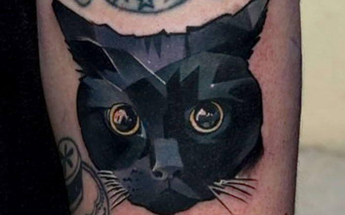 фото рисунка тату черная кошка 13.11.2018 №235 - black cat tattoo picture - tattoo-photo.ru