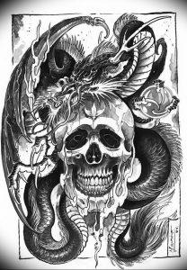 Фото рисунка тату дракон 12.10.2018 №091 - dragon tattoo - tattoo-photo.ru