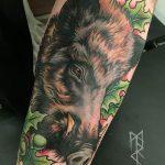 Фото рисунка тату кабан 11.10.2018 №057 - boar tattoo - tattoo-photo.ru