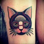 Фото рисунка тату кошка 09.10.2018 №031 - cat tattoo - tattoo-photo.ru