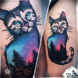 Фото рисунка тату кошка 09.10.2018 №195 - cat tattoo - tattoo-photo.ru