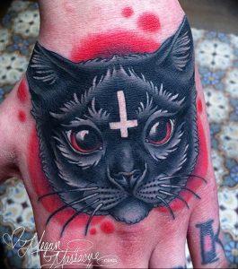Фото рисунка тату кошка 09.10.2018 №206 - cat tattoo - tattoo-photo.ru