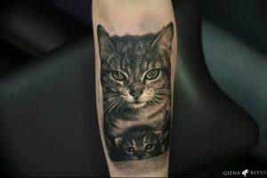 Фото рисунка тату кошка 09.10.2018 №353 - cat tattoo - tattoo-photo.ru