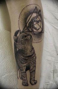Фото рисунка тату кошка 09.10.2018 №372 - cat tattoo - tattoo-photo.ru