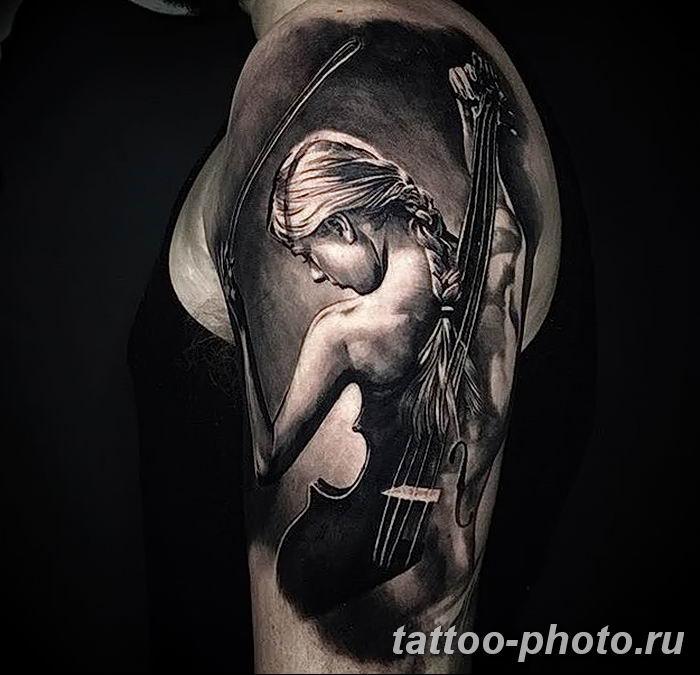 Фото тату Виолончель 26.10.2018 №009 - photo tattoo cello - tattoo-photo.ru